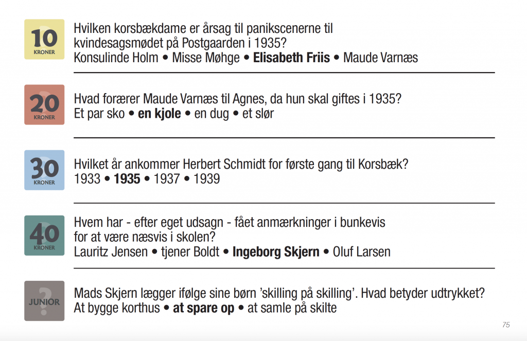 """Spørgsmålskort fra """"Korsbæk"""""""